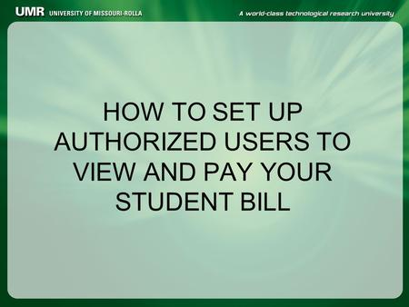 HOW TO SET UP AUTHORIZED USERS TO VIEW AND PAY YOUR STUDENT BILL.