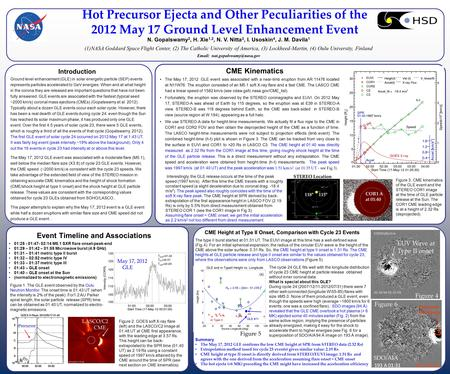 Hot Precursor Ejecta and Other Peculiarities of the 2012 May 17 Ground Level Enhancement Event N. Gopalswamy 2, H. Xie 1,2, N. V. Nitta 3, I. Usoskin 4,