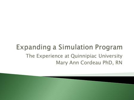 The Experience at Quinnipiac University Mary Ann Cordeau PhD, RN.