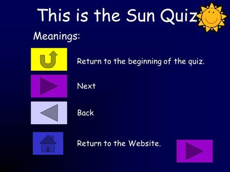 This is the Sun Quiz Return to the beginning of the quiz. Meanings: Next Back Return to the Website.