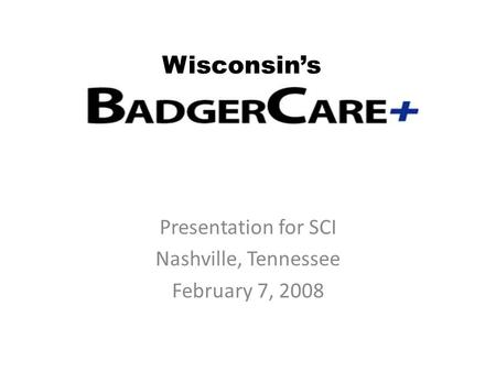Presentation for SCI Nashville, Tennessee February 7, 2008 Wisconsin's.