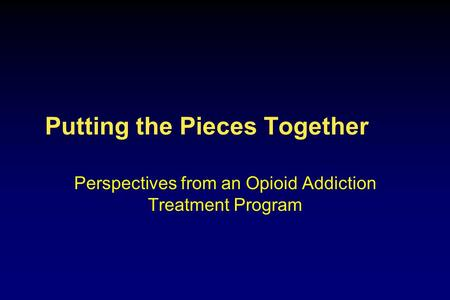 Putting the Pieces Together Perspectives from an Opioid Addiction Treatment Program.