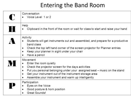 Entering the Band Room C Conversation  Voice Level 1 or 2 H Help  Clipboard in the front of the room or wait for class to start and raise your hand A.