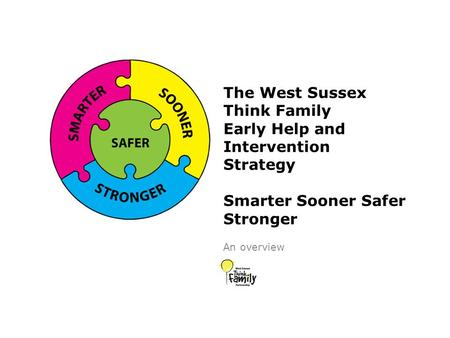 The West Sussex Think Family Early Help and Intervention Strategy Smarter Sooner Safer Stronger An overview.