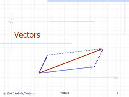 "© 2004 Goodrich, Tamassia Vectors1. © 2004 Goodrich, Tamassia Vectors2 The Vector ADT (""Vector"" = ""Array List"" in §6.1) The Vector ADT extends the notion."