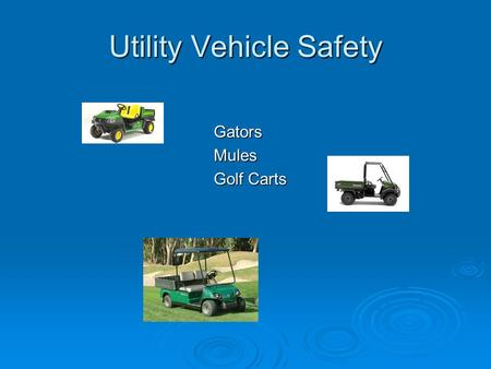 Utility Vehicle Safety