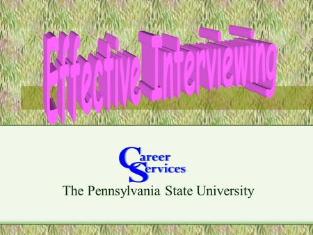 The Pennsylvania State University. Topics Purpose Internal Information External Information The Actual Interview Questions.