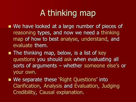 A thinking map We have looked at a large number of pieces of reasoning types, and now we need a thinking map of how to best analyse, understand, and evaluate.