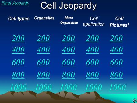 Cell Jeopardy Final Jeopardy Cell types Organelles More