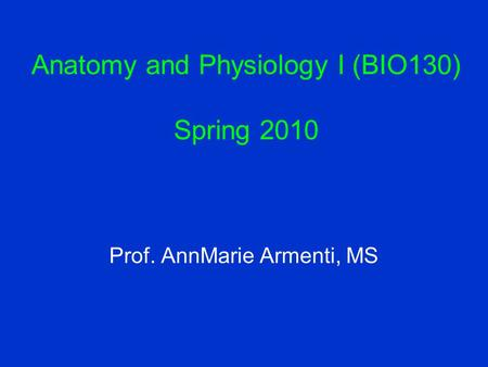 Anatomy and Physiology I (BIO130) Spring 2010 Prof. AnnMarie Armenti, MS.