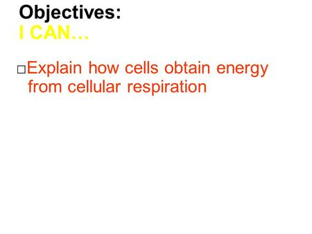 Objectives: I CAN… □Explain how cells obtain energy from cellular respiration.