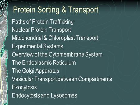 Protein Sorting & Transport Paths of Protein Trafficking Nuclear Protein Transport Mitochondrial & Chloroplast Transport Experimental Systems Overview.