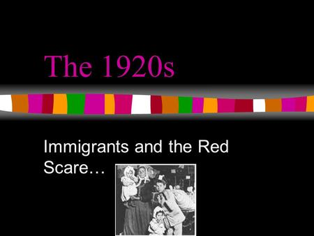 "The 1920s Immigrants and the Red Scare…. President Warren G. Harding promotes a return to ""normalcy"" Renewed isolationism Resurgence of nativism Trend."