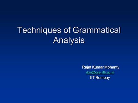 Techniques of Grammatical Analysis