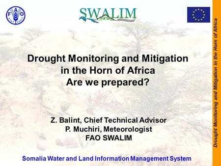 Drought Monitoring and Mitigation in the Horn of Africa Drought Monitoring and Mitigation in the Horn of Africa Are we prepared? Somalia Water and Land.