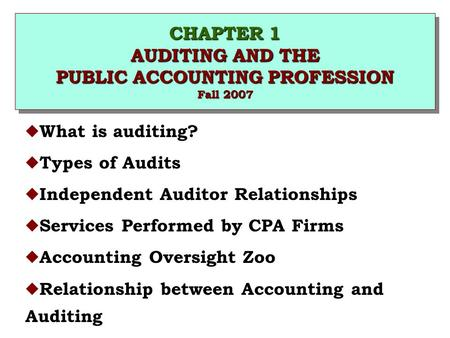 CHAPTER 1 AUDITING AND THE PUBLIC ACCOUNTING PROFESSION Fall 2007 u What is auditing? u Types of Audits u Independent Auditor Relationships u Services.