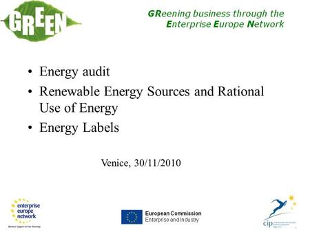 Venice, 30/11/2010 Energy audit Renewable Energy Sources and Rational Use of Energy Energy Labels.