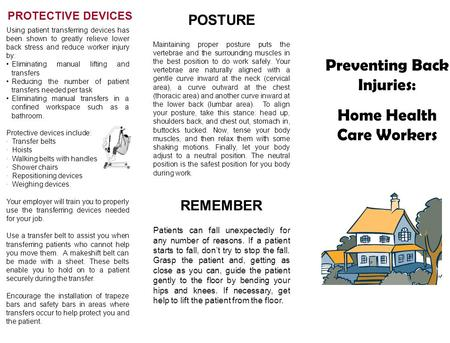 Preventing Back Injuries: Home Health Care Workers