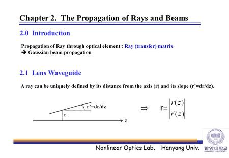 Nonlinear Optics Lab. Hanyang Univ. Chapter 2. The Propagation of Rays and Beams 2.0 Introduction Propagation of Ray through optical element : Ray (transfer)