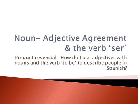 Noun- Adjective Agreement & the verb 'ser'