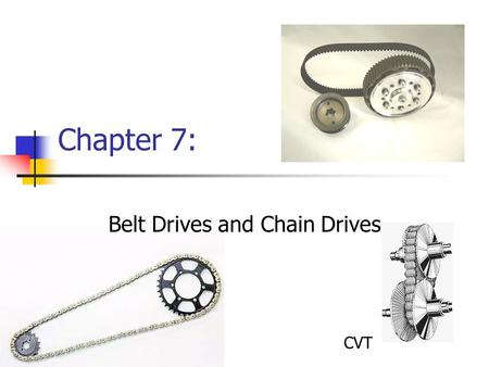 Belt Drives and Chain Drives