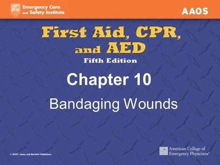 Chapter 10 Bandaging Wounds.