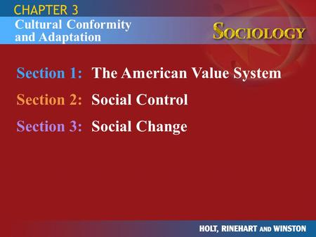 Section 1: The American Value System Section 2: Social Control