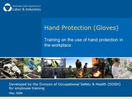 Hand Protection (Gloves) Training on the use of hand protection in the workplace Developed by the Division of Occupational Safety & Health (DOSH) for employee.