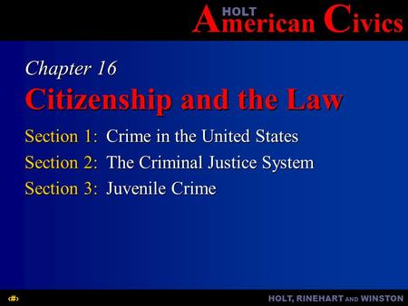 A merican C ivicsHOLT HOLT, RINEHART AND WINSTON1 Chapter 16 Citizenship and the Law Section 1:Crime in the United States Section 2:The Criminal Justice.