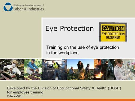 Eye Protection Training on the use of eye protection in the workplace Developed by the Division of Occupational Safety & Health (DOSH) for employee training.