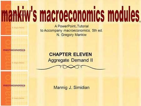 Chapter Eleven1 A PowerPoint  Tutorial to Accompany macroeconomics, 5th ed. N. Gregory Mankiw Mannig J. Simidian ® CHAPTER ELEVEN Aggregate Demand II.
