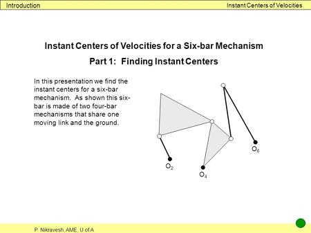P. Nikravesh, AME, U of A Instant Centers of Velocities Introduction Instant Centers of Velocities for a Six-bar Mechanism Part 1: Finding Instant Centers.