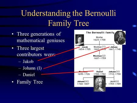 Understanding the Bernoulli Family Tree Three generations of mathematical geniuses Three largest contributors were: –Jakob –Johann (I) –Daniel Family Tree.