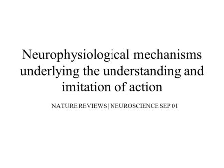 NATURE REVIEWS | NEUROSCIENCE SEP 01