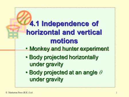 1© Manhattan Press (H.K.) Ltd. Monkey and hunter experiment Body projected horizontally under gravity Body projected horizontally under gravity Body projected.