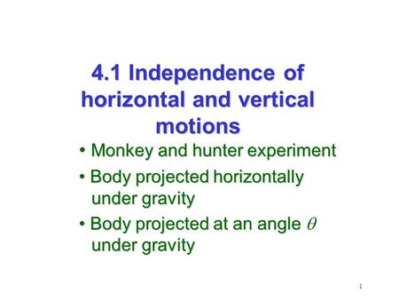 1 Monkey and hunter experiment Body projected horizontally under gravity Body projected horizontally under gravity Body projected at an angle under gravity.