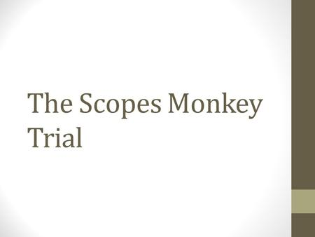 The Scopes Monkey Trial. Fundamentalism The Protestant Movement grounded in literal, or nonsymbolic, interpretation of the Bible. Fundamentalists rejected.