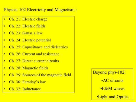 Ch. 21: Electric charge Ch. 22: Electric fields Ch. 23: Gauss's law Ch. 24: Electric potential Ch. 25: Capacitance and dielectrics Ch. 26: Current and.