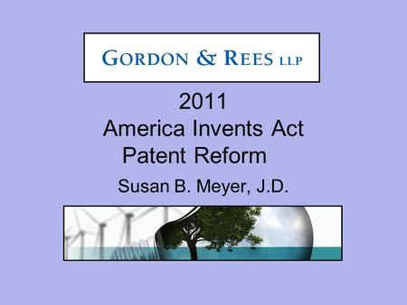 2011 America Invents Act Patent Reform Susan B. Meyer, J.D.