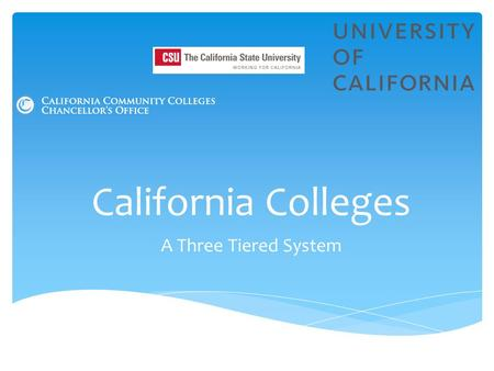 California Colleges A Three Tiered System.  Higher Education System— California's three-tiered higher ed. system has firm guidelines that govern:  what.