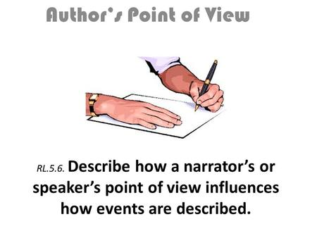 RL.5.6. Describe how a narrator's or speaker's point of view influences how events are described. Author's Point of View.