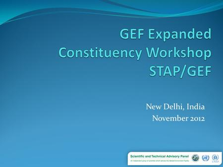 "New Delhi, India November 2012. What is STAP? In 1994, the GEF Instrument sets up STAP – ""UNEP shall establish, in consultation with UNDP and the World."