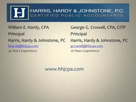 William E. Hardy, CPA Principal