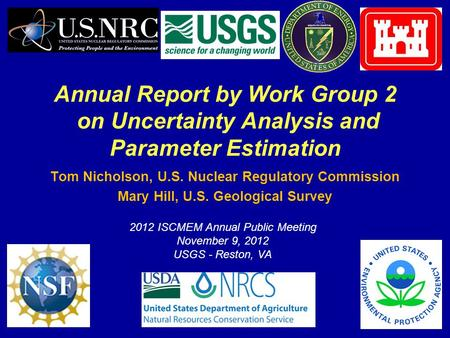 1 Annual Report by Work Group 2 on Uncertainty Analysis and Parameter Estimation Tom Nicholson, U.S. Nuclear Regulatory Commission Mary Hill, U.S. Geological.