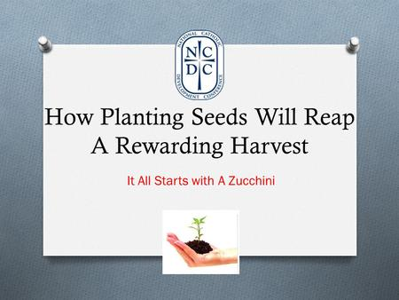 How Planting Seeds Will Reap A Rewarding Harvest It All Starts with A Zucchini.