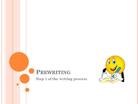 P REWRITING Step 1 of the writing process. T HE PURPOSE OF PREWRITING Prewriting is the idea stage of the writing process. When you prewrite, you should.
