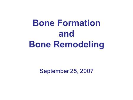 Bone Formation and Bone Remodeling September 25, 2007.