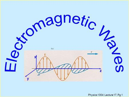 Physics 1304: Lecture 17, Pg 1 f()x x f(x x z y. Physics 1304: Lecture 17, Pg 2 Lecture Outline l Electromagnetic Waves: Experimental l Ampere's Law Is.