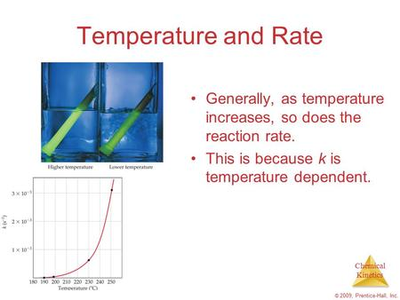 Chemical Kinetics © 2009, Prentice-Hall, Inc. Temperature and Rate Generally, as temperature increases, so does the reaction rate. This is because k is.