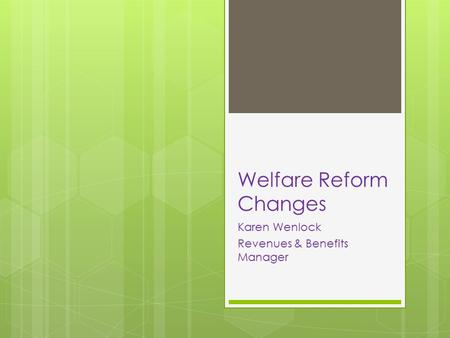 Welfare Reform Changes Karen Wenlock Revenues & Benefits Manager.